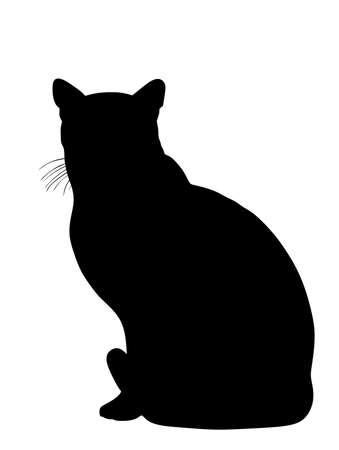 Domestic cat sitting vector silhouette illustration isolated on white background. Lovely kitty pet symbol. Иллюстрация