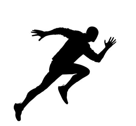 Sprinter runner vector silhouette isolated on white background. Marathon racer running silhouette. Sport man activity concept. Иллюстрация