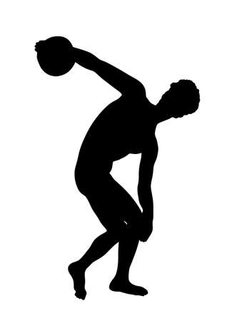 Disc thrower vector silhouette illustration isolated on white background.  Discus thrower symbol. Discobolo or discobolus antic sportsman symbol. Иллюстрация
