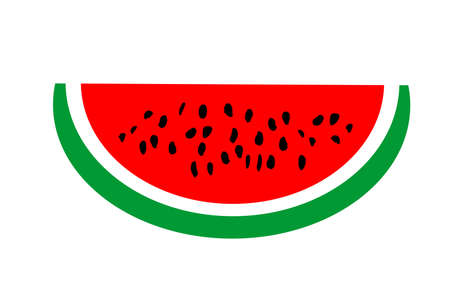 Watermelon slice vector illustration isolated on white background. Tasty summer food.
