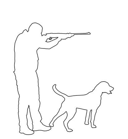 Hunter with dog aiming with his rifle vector line contour silhouette. Outdoor hunting scene. Pointer looking on prey. Man hunting isolated on white. Synergy partnership. Traditional hobby.