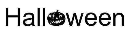 Halloween word sign vector silhouette illustration isolated on white. Pumpkin scary face laughing. Happy Jack O Lantern. Spooky and Scary night scene.