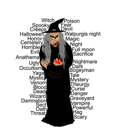 Old witch with poison red apple vector illustration isolated on white background. Halloween, bogeyman. Walpurgis night. Black magic lady. Horror and horrible night nightmare. legend and fairy tale. Фото со стока - 155362971