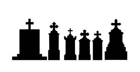 Tombstone vector silhouette illustration collection isolated on white background. Gravestone or headstone on graveyard. Rest in peace on cemetery.