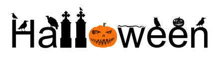 Halloween word sign vector silhouette illustration isolated on white. Pumpkin scary face laughing. Happy Jack O Lantern. Spooky raven on tombstone graveyard with snake and vulture. Scary night owl.