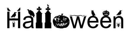 Halloween word sign vector silhouette illustration isolated on white. Pumpkin scary face laughing. Happy Jack O Lantern. Spooky raven on tombstone graveyard with snake and vulture. Scary night owl. Фото со стока - 156116511