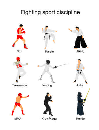 Fighting sport discipline collection vector illustration isolated on white background. Different martial sport. Fighter present skills. Self defense concept. Box, karate, aikido, taekwondo, judo...
