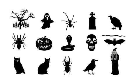 Halloween symbols vector silhouette illustration isolated. Pumpkin scary face laughing. Jack O Lantern. Spooky raven, snake, owl and vulture on graveyard. Scary night three ghost. Black cat and witch.