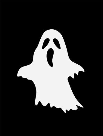 Ghost vector silhouette illustration isolated on black background. Halloween scary symbol. Nightmare dream. Scary face.