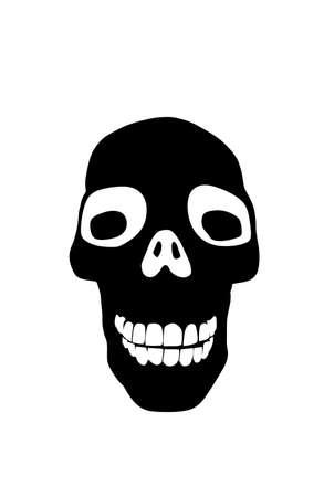 Skull vector silhouette illustration isolated on white background. Human head skeleton part symbol.