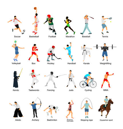 Sport man vector collection in different sport discipline. Big set active sport people illustration. Athlete skills. Health care concept. Training and work out in gym or outdoor.
