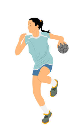 Girl handball player in action with ball vector illustration isolated on white. Woman handball player shoots a penalty. Sport lady jumping in the air. Иллюстрация