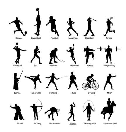 Sport man vector silhouette collection in different sport discipline. Big set active sport people illustration. Athlete skills. Health care concept. Training and work out in gym or outdoor. Ilustración de vector