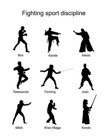 Fighting sport discipline collection vector silhouette illustration isolated on white background. Different martial sport. Fighter present skills. Self defense concept. Box, karate, aikido, judo... 矢量图像