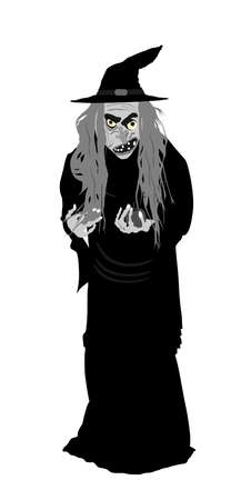 Old witch with poison red apple vector illustration isolated on white background. Halloween, bogeyman. Walpurgis night. Black magic lady. Horror and horrible night nightmare. legend and fairy tale.