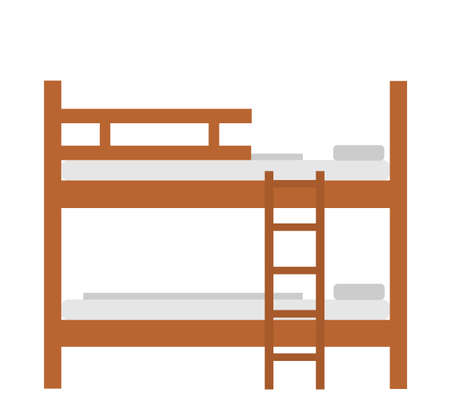 Bunk bed vector illustration isolated on white background. Double decker sleeping hostel bed. Фото со стока - 156185243