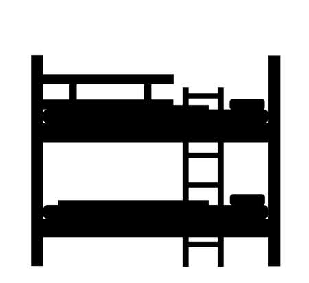 Bunk bed vector silhouette illustration isolated on white background. Double decker sleeping hostel bed.