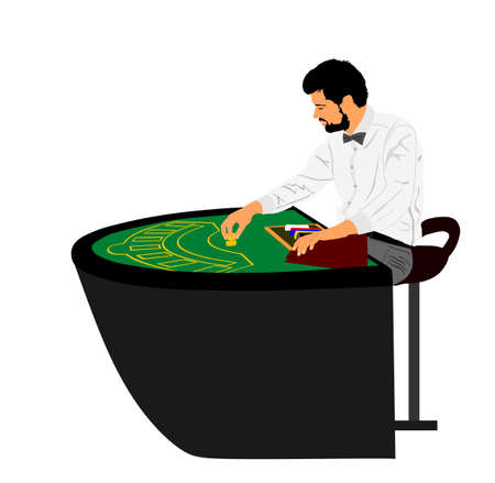 Croupier in gaming casino vector illustration isolated on white background. Dealer with chips waiting players for black jack game.