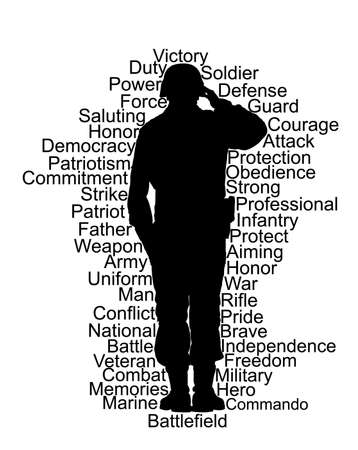 Saluting army soldier vector silhouette isolated on white background. (Memorial Veterans day, 4th of July, Independence day).