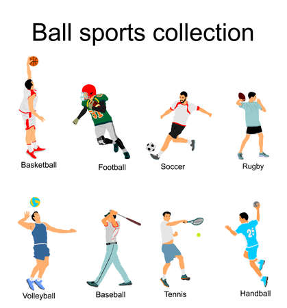 Set of different sport discipline players with ball vector illustration isolated on white background.