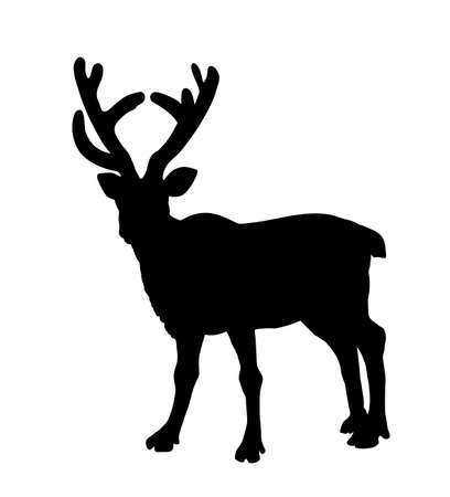 Reindeer vector silhouette illustration isolated on white background. Rein deer powerful animal. Christmas holiday symbol. Santa Claus best friend.