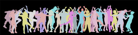 Party dancer people, girls and boys vector silhouette. Nightlife party concept with crew dancing. Disco club event. Birthday celebration. Teenagers in good mood. Fun and entertainment.
