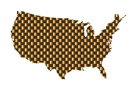 Gold USA map vector silhouette isolated on white background. United States of America map gold design. Strong and powerful economy symbol. Иллюстрация