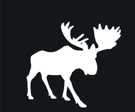 Moose vector silhouette illustration isolated on black background. Elk buck. Powerful deer with huge antlers symbol. Vettoriali