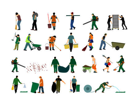 Outdoor workers people. Farmer, gardener, landscaper cleaning service, land watering activity vector illustration. Grass trimmer cutting. Leaf and garbage collecting, industrial transportation laborer
