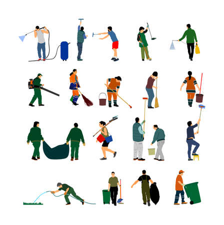 Cleaning lady wit broom. Housemaid cleaner with besom vector illustration. Woman floor care service, washing mop. Housework job. House wife.