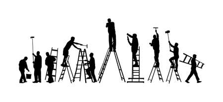 Painter workers on ladder vector silhouette isolated on white. Man decorator painting wall with paint brush roller. Crew renovation home. Handyman move in job.