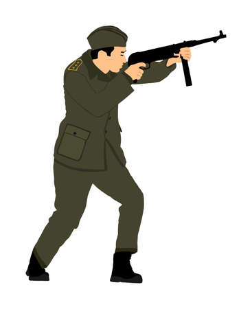Second world war army soldier with rifle vector illustration. WW2 soldier with rifle aim and shoot at the enemy.