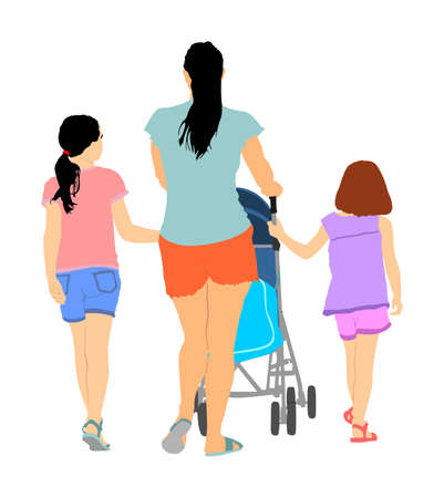 Happy big family enjoying holding hands vector illustration isolated on white. Mothers day. Mom and baby in pram with daughters walking. Love and tenderness relaxation in public. Teen girls and parent