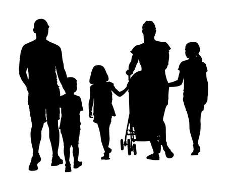 Happy big family enjoying holding hands vector silhouette isolated on white. Fathers day. Mothers day. Dad, mom and baby in pram, daughters and son walking. Love and tenderness relaxation in public Stock Illustratie