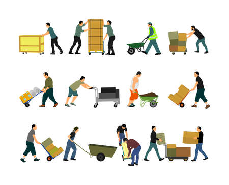 Delivery man carrying boxes of goods vector isolated. Post man with package. Distribution storehouse. Boy holding heavy load moving service. Handy man move action. Hand transportation method by cart