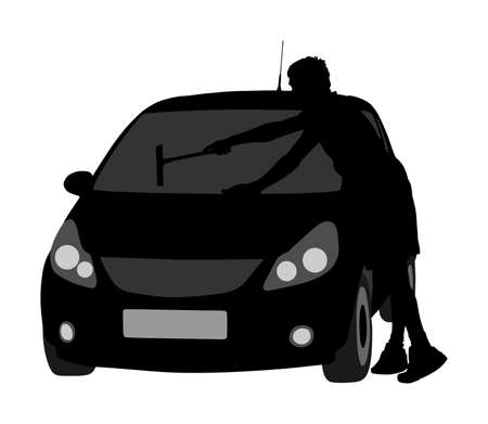 Man washing automobile windows vector silhouette illustration isolated white background. Car wash center. Boy taking care about car in washing service. Worker clean windows. Pit stop cleaning vehicle.