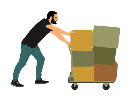 Delivery man carrying boxes of goods vector illustration. Post man with package. Distribution storehouse. Boy holding heavy load for moving service. Handy man move action. Hand transportation by cart.