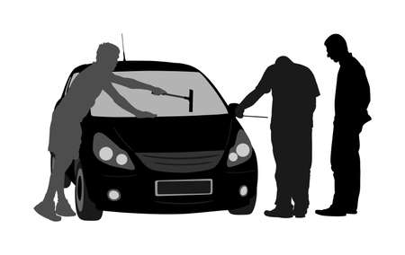 Worker washing car windows vector silhouette. Pit stop vehicle. Mechanic assistance to customer. Auto service repair center. Broken car accident on road. Diagnostic problem, check oil level in engine