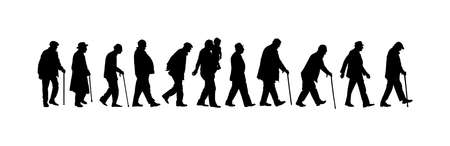 Elderly seniors walking crowd vector silhouette isolated on white. Old man person with stick. Mature old people active life. Grandfather veterans company. Health care in nursing home. Senior meeting. Stock Illustratie