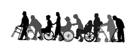 Mature woman pushing strolling with disabled man vector silhouette. Patient in wheelchair isolated on white. Nurse support injured person. Hospital patient with walker rehabilitation recovery activity Stock Illustratie