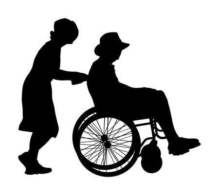 Mature woman pushing strolling with disabled man patient in wheelchair vector silhouette. Patient in wheelchair isolated on white. Nurse support injured man. Hospital paramedic Social worker activity. Stock Illustratie