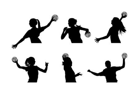 Girl handball player in action with ball vector silhouette illustration isolated on white. Woman handball player shoots a penalty. Female sport figure shadow symbol. Handball lady jumping in the air.