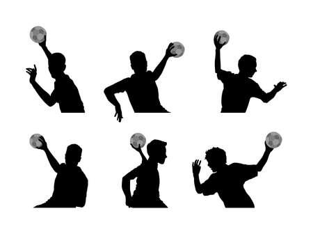 Handball player in action vector silhouette illustration. Elegant body sport figure, boy black shadow. Dynamic athlete jump and shooting penalty in goal. Sport man handball attack target shut in jump,