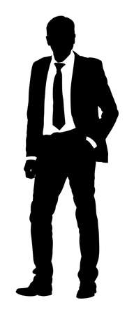 Businessman vector silhouette illustration. Handsome man in suite and tie with hands in pockets. Standing casual pose. Relaxed man, confident leader standing.