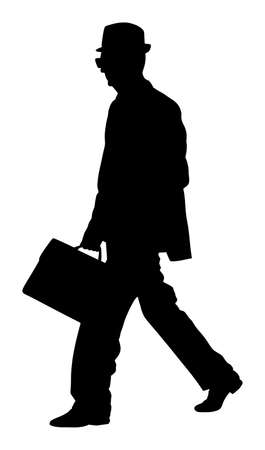 Old experienced lawyer with suitcase walking vector. Elegant senior gentleman silhouette. Mature businessman. Old school teacher. Man in suit with hand in pocket. Secret service member. Double agent.