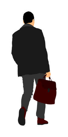 Elegant businessman go to work vector illustration. Handsome man in suite with suitcase. Man walking. Young yuppie lawyer. Secret agent, confident leader.