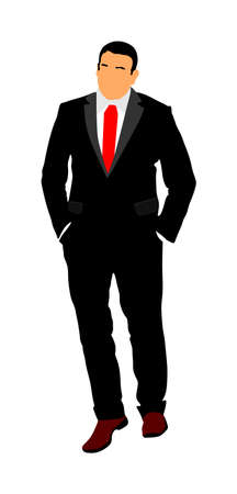 Businessman in suite and tie walking with hands in pockets vector illustration. Handsome business man in office work. Elegant man manager.  Bodyguard observe, agent care for president's security