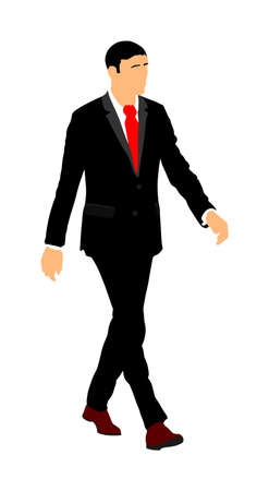 Elegant businessman go to work vector illustration. Handsome man in suite and tie. Man walking. Young yuppie lawyer. Secret agent, confident leader.