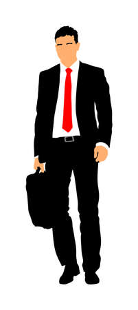 Elegant businessman go to work vector illustration. Handsome man in suite and tie with suitcase. Man walking. Young yuppie lawyer. Secret agent, confident leader. Illustration