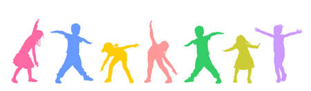 Happy joyful kids, little boys and girls doing exercise vector silhouette isolated on white. Funny playing plane game. Spread hands flying symbol widespread hands open. Smiling children enjoy.